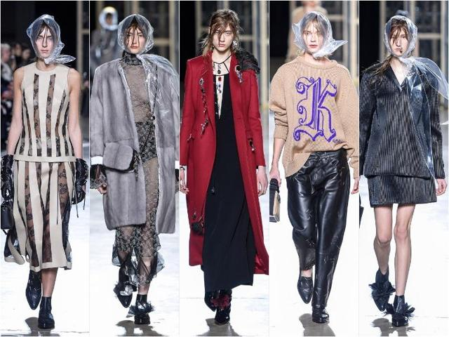 From Christopher Kane's heavy, dark, asymmetric tailoring to Burberry's parade of male and female models in military overcoats and aviator jackets, masculine styling repeatedly stood out in the women's autumn/winter collections.