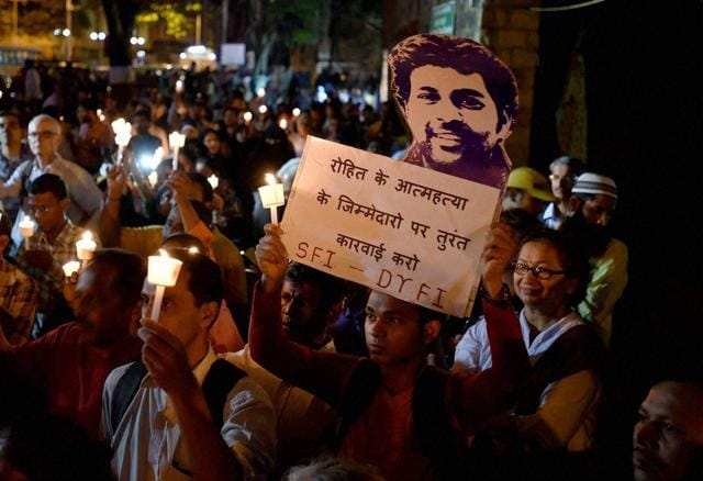 JNU students agitate for the release of students arrested on sedition charges on the university campus in New Delhi on Wednesday.