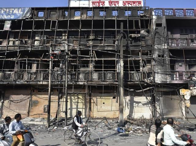 A view of the burnt Life Care Hospital after Jat protests for reservation in government services in Rohtak, Haryana,  on Tuesday, February 23, 2016.