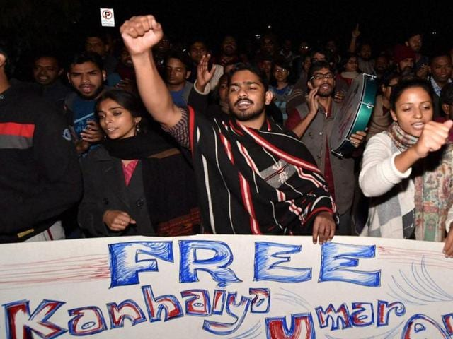 JNU students holding placards in support of arrested student leaders at the JNU campus  on Wednesday.
