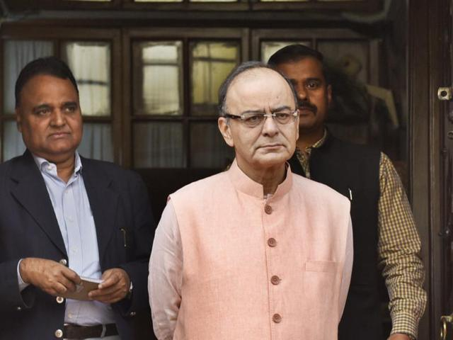 Finance minister Arun Jaitley at Parliament during the Budget Session in New Delhi.(HT Photo/Mohd Zakir)