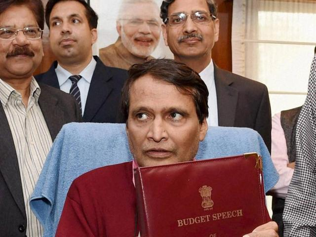 Union Railway Minister Suresh Prabhu give final touches to the Railway Budget 2016 in his office in New Delhi on Wednesday.