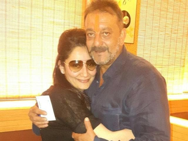 Actor Sanjay Dutt with his wife Manyata Dutt at Pune airport after he was released from jail on Thursday.