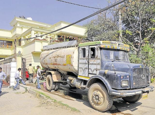 Residents in DLF City Phase 1 paid Rs 1,000 for a 500-litre tanker, which otherwise costs Rs 500, on Wednesday.