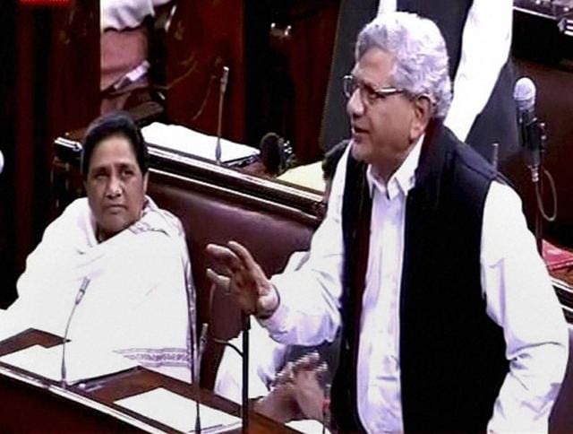 CPI(M) general secretary Sitaram Yechury speaks in Rajya Sabha, in New Delhi.