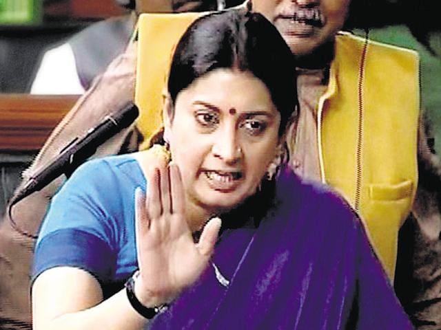 HRD Minister Smriti Irani in the Lok Sabha on Wednesday.
