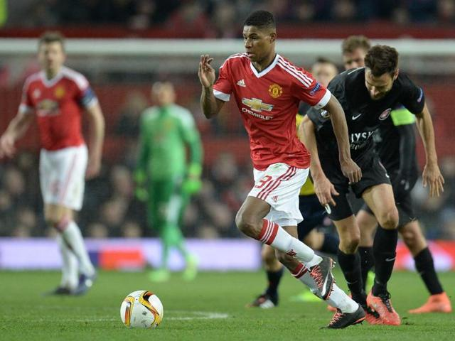 Manchester United's English striker Marcus Rashford controls the ball during the Uefa Europa League match between Manchester United and and FC Midtjylland at Old Trafford in Manchester.