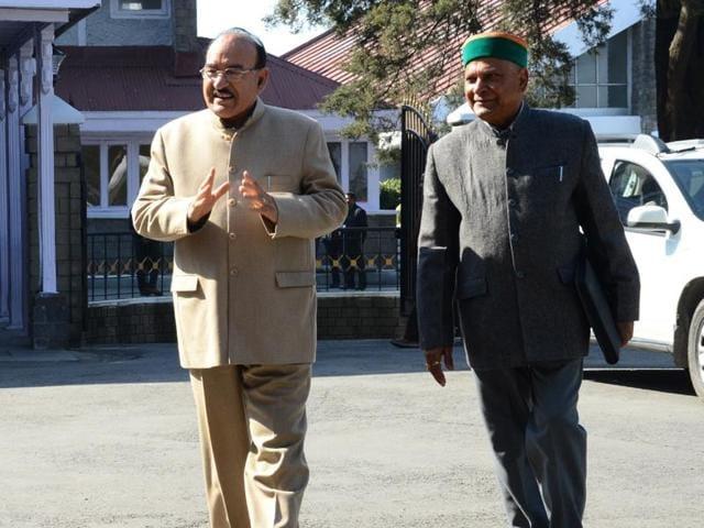 Himachal Pradesh health minister Kaul Singh Thakur reaches to attend the Himachal Pradesh Vidhan Sabha Budget session in Shimla on Friday.