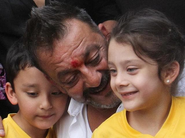 Bollywood actor Sanjay Dutt at his residence after he was released from prison on Thursday.