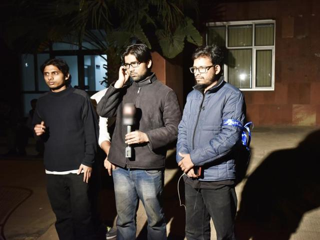 Rama Naga (left), Ashutosh (centre) and Anant interact with the media at the JNU campus.