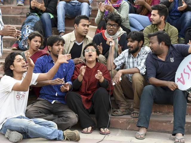 Students protest against the arrest of Jawaharlal Nehru University Students' Union president Kanhaiya Kumar, in New Delhi, February 22
