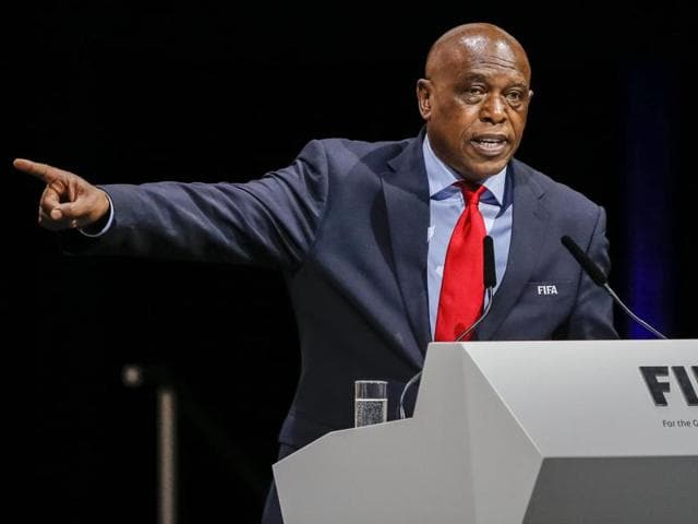 Fifa presidential candidate Tokyo Sexwale, of South Africa, delivers a speech in Zurich, Switzerland.
