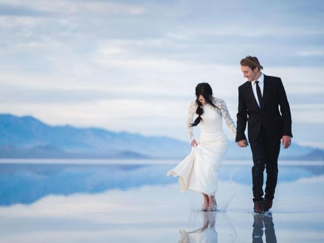 Couple Walking on Water,Wedding Pics,Wedding Photos