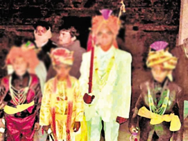 The weddings were reportedly solemnised in a ceremony in Gajuna village of Bhilwara district, on February 23(HT Photo)