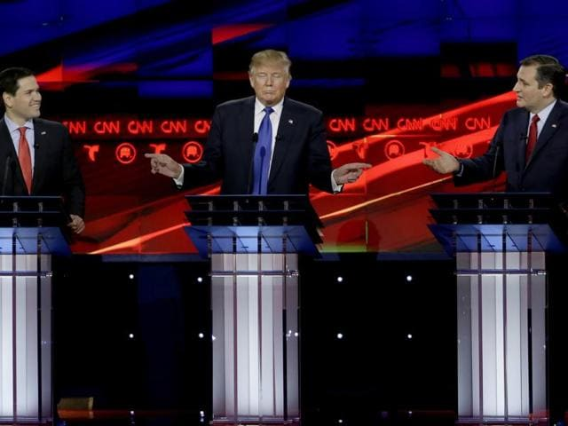 (From left) Marco Rubio, Donald Trump and Ted Cruz at the Republican debate on Thursday night.