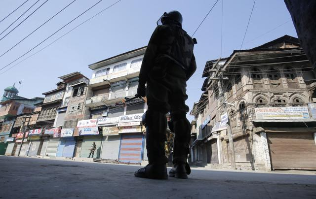 Streets bear a deserted look as Srinagar witnesses a complete shutdown on Saturday.