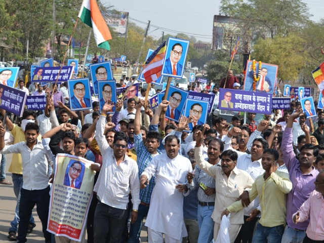 The AVM workers marched from Thatipur to Ambedkar Park in Gwalior on Sunday.