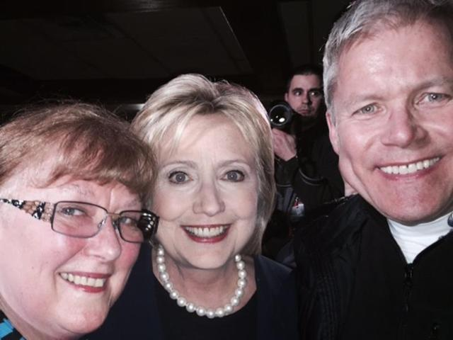Sheila Bronfman (L) with Hillary Clinton