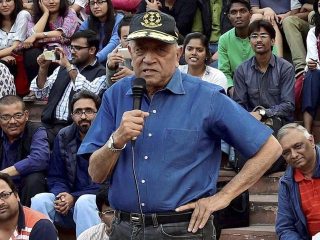 Admiral (Retd) Ramdas addresses the students agitating for the release of JNUSU president Kanhaiya Kumar at the Jawahar Lal Nehru University campus in New Delhi.
