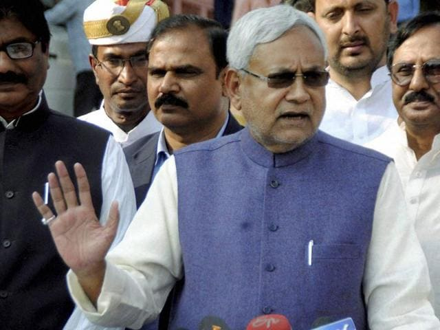 Bihar Chief Minister Nitish Kumar addressing to media persons at Bihar Assembly campus in Patna.