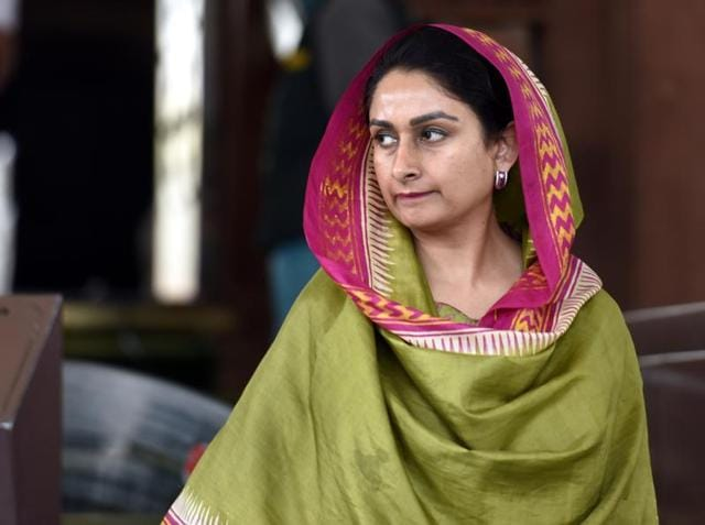 Harsimrat Kaur Badal, Minister of Food Processing at the Parliament in New Delhi.