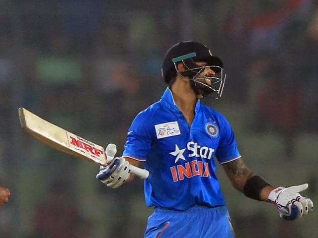 Virat Kohli reacts after getting dismissed by Mohammad Sami during the Asia Cup T20 cricket tournament match between India and Pakistan at the Sher-e-Bangla National Cricket Stadium in Dhaka.
