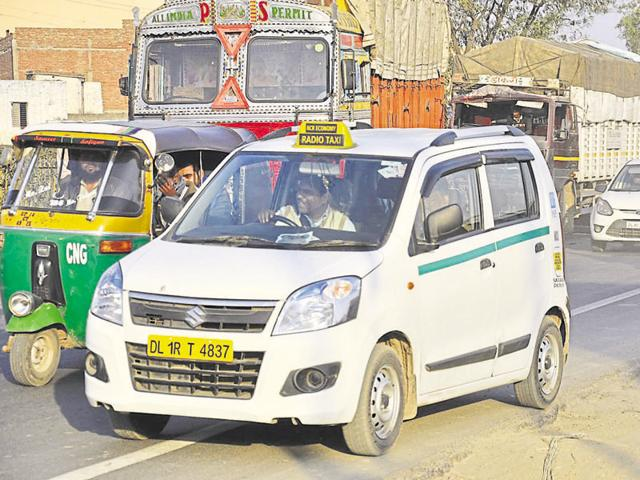 Vehicle owners are also required to install GPS devices in cars that have all-India permits.(Sakib Ali/HT Photo)