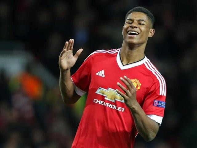 Marcus Rashford celebrates after scoring during the Europa League Round of 32 second leg match against FC Midtjylland on Thursday.(AP Photo)