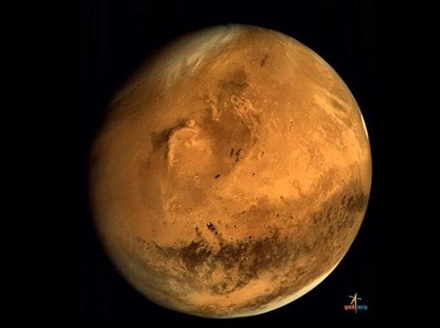 Full disc image of Mars, taken by the Mars Orbiter from an altitude of 66,543 km. India and the US could jointly explore Mars in future.