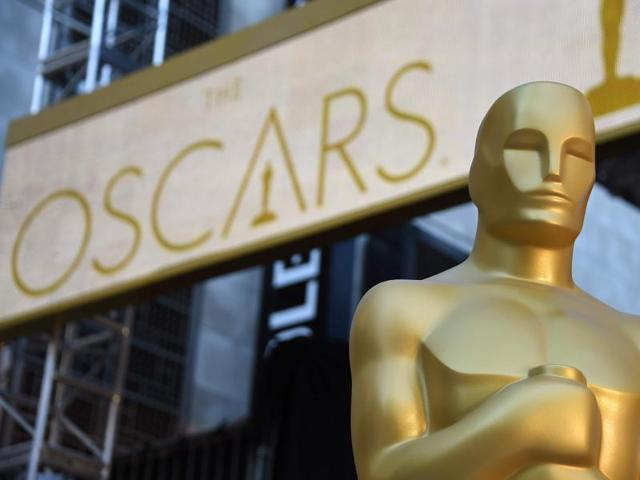 An Oscar statue is seen at the red carpet arrivals area as preparations continue for the 88th Annual Academy Awards at Hollywood & Highland Center on February 25, 2016 in Hollywood, California..
