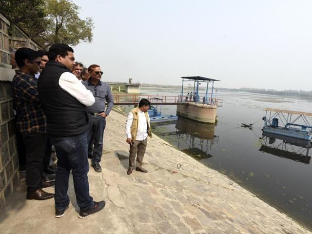 Delhi Water Minister Kapil Mishra takes stock of the situation at the Wazirabad Water Treatment Plant on February 27, 2016.