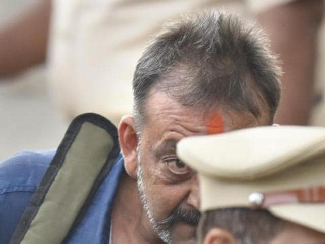 Sanjay Dutt was arrested for the possession of illegal arms. (HT)