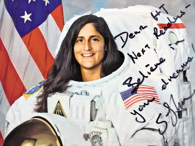 An authographed poster of Sunita Willaims with a message exhorting young HT readers to believe in their dreams. Williams participated in an interactive session with students from 60 Delhi-NCR schools on Friday.(HT Photo)