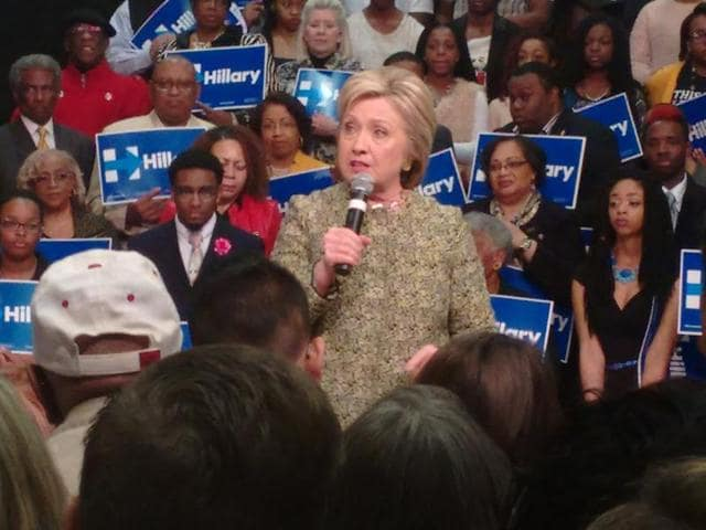 Hillary Clinton speaking at a rally in Pine Bluff, Arkansas, on Sunday.