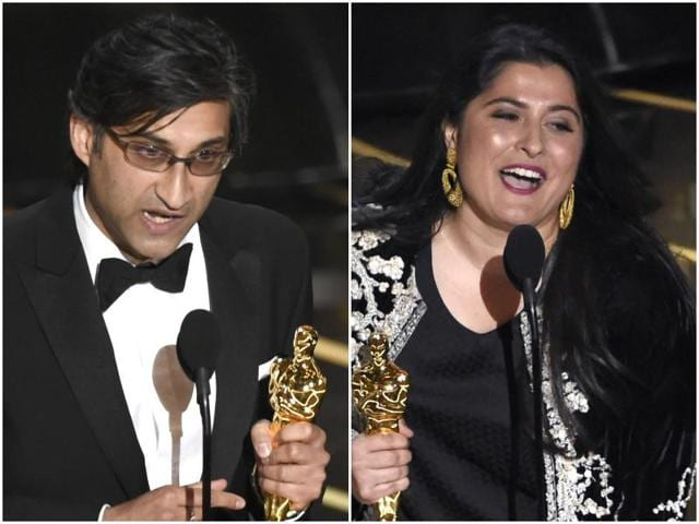 Asif Kapadia accepting his award for Amy and Sharmeen Obaid-Chinoy accepting the Oscar for A Girl in the River.