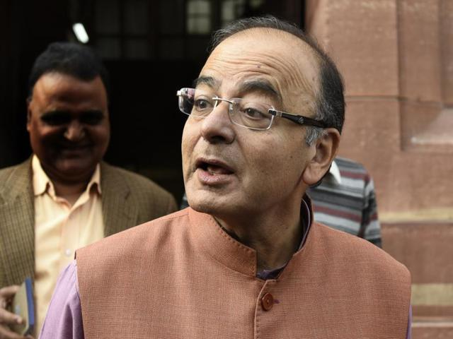 Union Finance Minister Arun Jaitley leaves the finance ministry to present the General Budget at Parliament House, New Delhi.