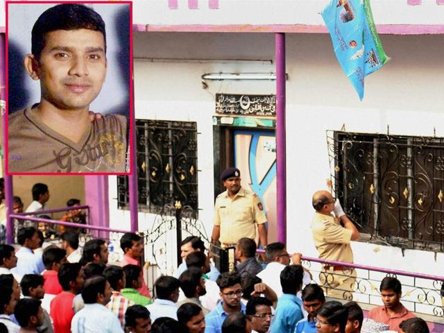 Police inspecting the house where a 35-year-old man Hasan Warekar (inset) allegedly killed 14 of his family members and then committed suicide in the Kasarwadavli area in Thane on Sunday