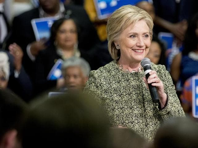 Democratic presidential candidate Hillary Clinton speaks at a rally to promote early voting ahead of Super Tuesday at the University of Arkansas.