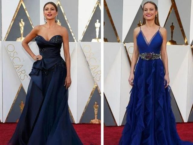 Sofia Vergara and Brie Larson pose on the red carpet in this combination photo before the 2016 Academy Awards in Hollywood.
