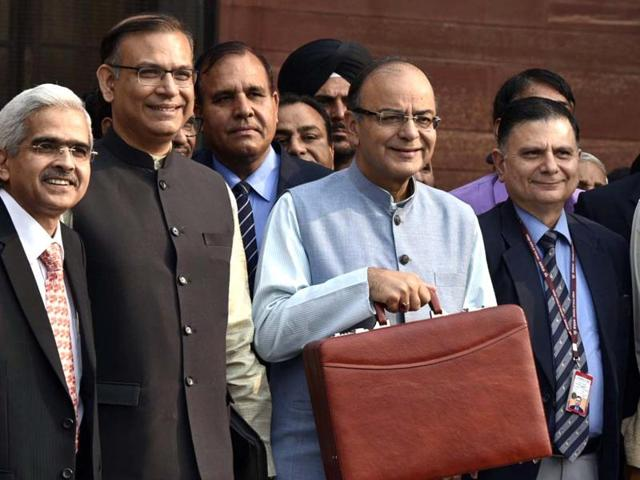 Union finance minister Arun Jaitley and Jayant Sinha, MOS. arrive at Parliament House to present the General Budget in New Delhi.