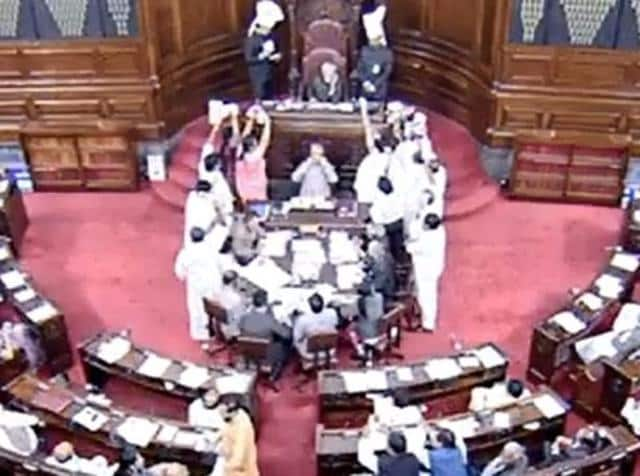 AIADMKmembers shouting in the Lok Sabha during Question Hour.