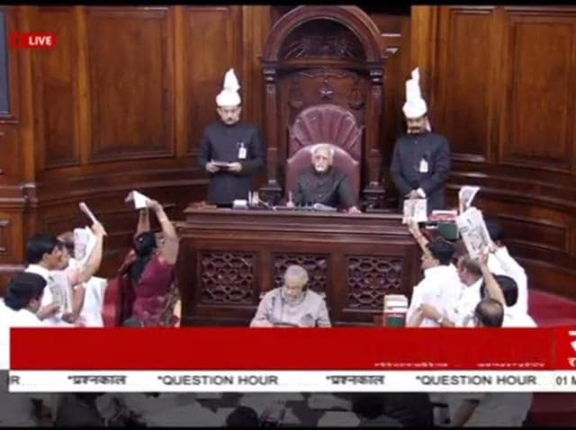 AIADMK members protesting in the Rajya Sabha.