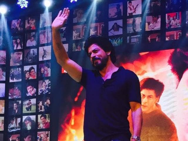 Shah Rukh Khan at the trailer launch of Fan. Salman Khan later tweeted the trailer saying he is SRK's fan.