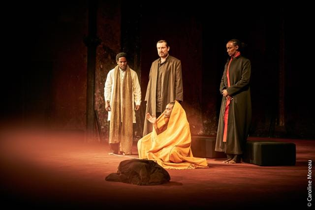 The cast of Peter Brook's Battlefield: (from left) Carole Karemera, Sean O'Callaghan, Jared McNeill, Ery Nzaramba