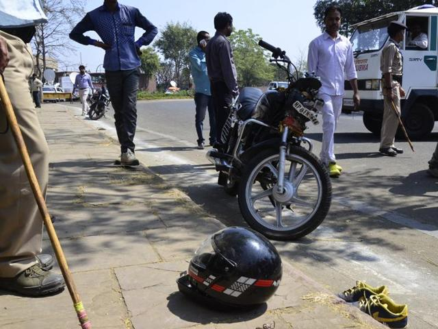 The site of accident near state assembly in Bhopal on Tuesday.