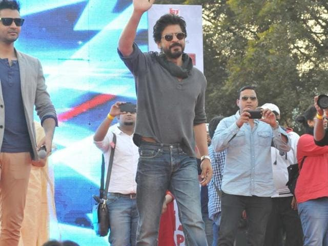 Actor Shah Rukh Khan during a press conference for his upcoming film `Fan` in New Delhi on Feb 16, 2016.