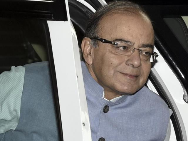 Finance minister Arun Jaitley arrives at Parliament to present the Union Budget during the Budget session in New Delhi on Monday.