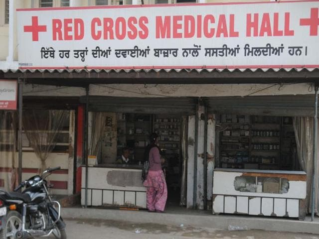 A Red Cross-run medical store at Government Rajindra Hospital in Patiala on Monday.