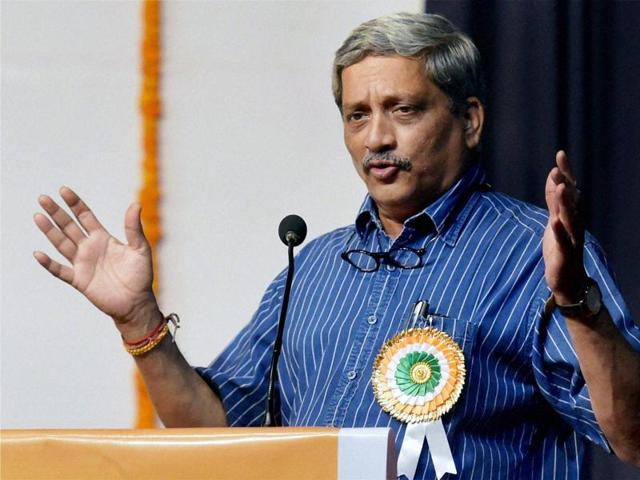 Defence minister Manohar Parrikar delivers a speech in Mumbai.
