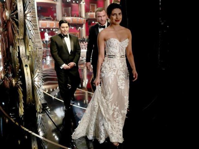 Priyanka Chopra backstage at the 88th Annual Academy Awards at Dolby Theatre on February 28, 2016 in Hollywood, California.